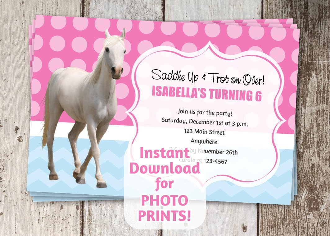Horse Birthday Party Invitation - Instant digital file download ...