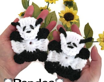 "Nylon Panda Pot Scrubbers- Panda Dish Scrubbers, Crocheted Scrubbies,  Multi-dimensional Pandas, Aprox 4 1/4 "" Dia.  Safe on Teflon"