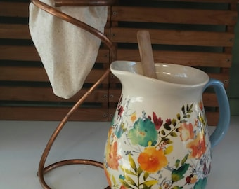 Cold/Hot Brew Coffee Strainer Set - Drip Stand - Chorreador - Bolsita - Major Myk's Reusable Coffee Filter - Cold Brew Coffee Strainer