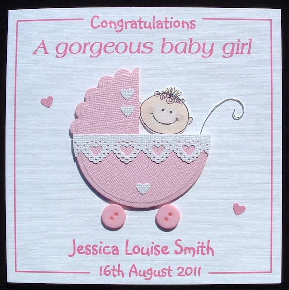 New baby card new baby girl card personalised handmade new m4hsunfo