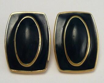 Monet Blue Enamel & Cabochon Earrings Vintage