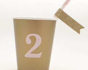 Antique Gold Paper Party Cup with Pink 2 - 9 oz cups - Set of 12