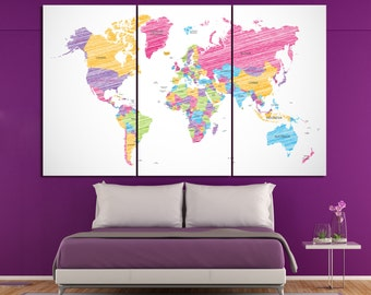 Shaded Colorful world map with countries large world map canvas art colorful map 3 or 5 panels set Colorful push pin map canvas wall art
