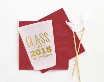 Graduation Cups Class of 2018 Personalized Cups Graduation Party Supplies 2018 Graduation Party Cups Custom Plastic Cups College Graduation