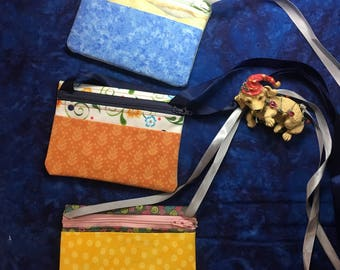Coin purse, Travel pouch, Small fabric makeup bag, ID and Credit Card carrier