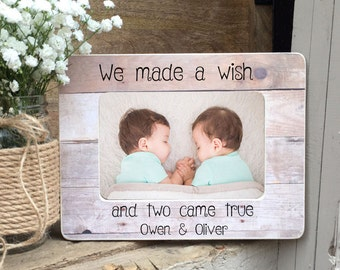 ON SALE  Twins Picture Frame Twin Gift  Twin Girls Twin Boys Twin Babies Personalized Picture Frame