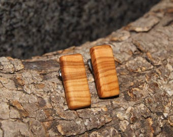 Olive Wood Earrings, stud earrings, stainless steel posts