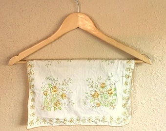 Vintage White And Mustard Yellow FLORAL Handkerchief