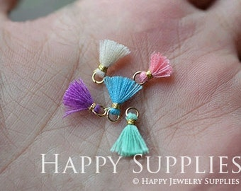 DIY- Mini 10 Pcs 10mm Lovely Jewelry Accessories DIY Mini Handmade Tassel Charm / Pendant (DT048)