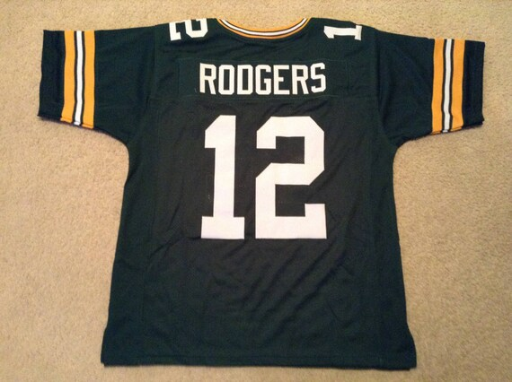 Green Bay Packers Aaron Rodgers UNSIGNED CUSTOM Made Green Jersey 8TX2Rt