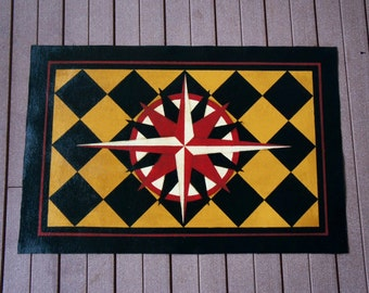 Compass rose hand painted canvas rug/floorcloth  black, gold, maroon and cream