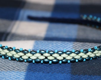 Beaded Headband-White and Teal with Light Blue accent