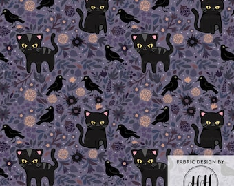 Black Cats and Ravens Fabric by the Yard - Halloween Dark Kitten and Floral Print in Yard & Fat Quarter
