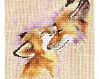 Cross Stitch Kit Foxes DIY Cross Stitch Set Punto de cruz Point de croix Modern Cross Stitch Luca-S Wall Decor Home decor Idea gift