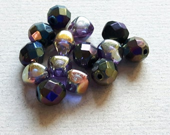 Glass beads, different shapes, color stained glass, 8 mm, set of 14 vintage beads
