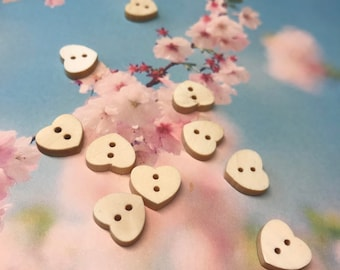 10 buttons Heart Wood