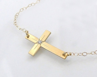 SOLID GOLD And Diamond Sideways Cross Necklace - 14K Yellow Or White Gold Horizontal Cross - As Seen On Taylor Jacobson