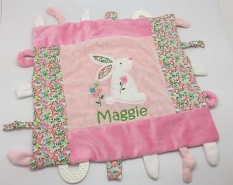 Sensory Toy Personalized Baby Gift, Sensory Blanket Baby Girl Gift, Lovey Blanket, Baby Shower gift, newborn toy, Teething toy, Bunny lovey