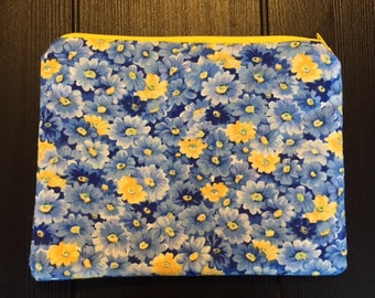 Blue and Yellow Floral Zipper Pouch