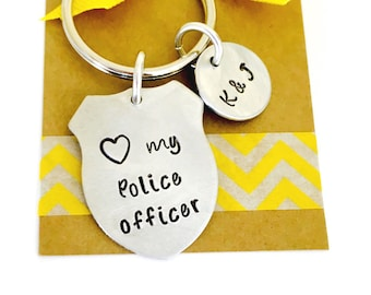 Police Badge Keychain Police Officer Keychain Hand Stamped Police Keychain Badge Number Cop Keychain Shield Keychain Girlfriend, Wife,