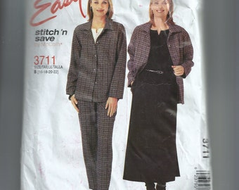 McCall's Misses'/Miss Petite Shirt, Top, Pull-On Pants and Skirt Pattern 3711