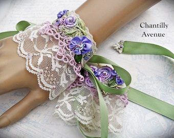 Vintage Style Crochet Lace Wrist Cuffs Lace Bracelets, Victorian Jewelry, Upcycled Beaded Lace Wedding Jewelry Handmade Bridal Cuffs