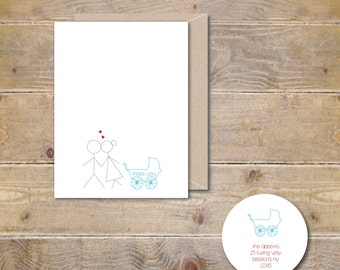 Baby Thank You Cards, Baby Shower Thank You Cards, Baby Shower Thank You Notes, Thank You Cards Baby, Stick Figures, New Baby, Thank You