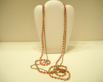 "Vintage 48"" Double Chain & Bead Necklace (8829)"