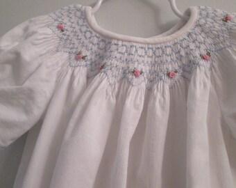 Bishop Dress, Hand-Smocked, Size 2, White Corduroy