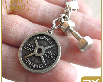 Fitness Gift keychain Dumbbell Powerlifting key ring Personal trainer gift Powerlifting key chain  Motivation accessories Bodybuilding