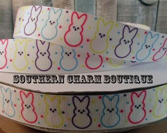 3 yards of 7/8 easter peep bunny grosgrain ribbon