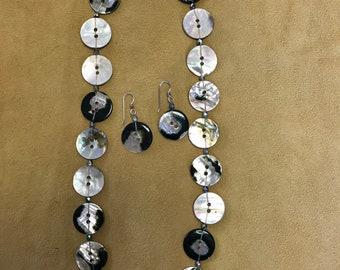 Vintage black abalone button necklace