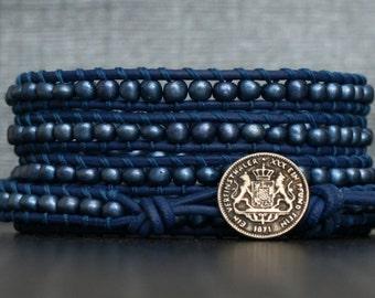 READY TO SHIP royal blue beaded leather wrap bracelet - cobalt sapphire - bohemian jewelry - boho chic - casual jewelry