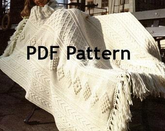 Fishermen Knit, Fair Isle Afghan, Blanket, Vintage 1972, Athlone Pattern Digital Download