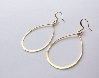 Hand Formed Hammered Wire Thin Tear Drop or Round Circle Hoop Earrings in Gold or Silver Metal
