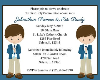 First Communion Invitation - Twin Boys/Two Boys  (Digital File) / Boys First Communion Invitation / 1st Communion Invitation Boys