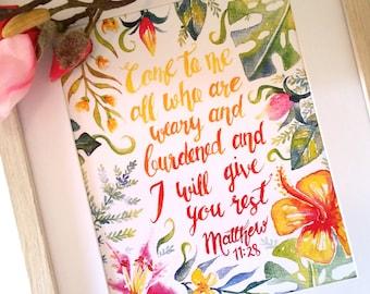 Bible Quote - Matthew 11:28 Art Print, Come to me, home decor, Scripture, inspirational, tropical, comfort, Bible verse, Hawaiian flowers