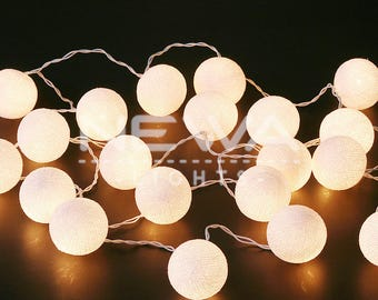 20 White Cotton Ball String Lights Fairy Lights Warm White Christmas Lights  Garland Lights Gifts Bedroom