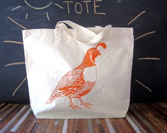 Canvas Tote Bag - Screen Printed Recycled Cotton Grocery Bag - Large Tote Bag - Market Tote - Reusable and Washable - Eco Friendly - Quail