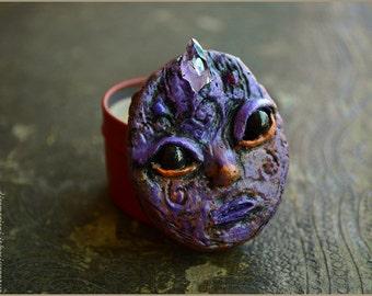 natural solid perfume Orange Levendel faerie - natural solid perfume in handsculpted box  with Amethyst - beeswax essential oils