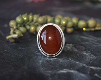 Red Onyx ring set in Sterling silver