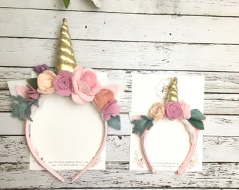 Unicorn Headband, felt flower Unicorn headband, unicorn Crown, Unicorn Head Piece, Floral Unicorn headband, Floral Crown, Unicorn Birthday