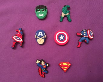 Captain America, Incredible Hulk, Superman, Spider Man, Wonder Woman Shoe Charms for Crocs, Party Favors, Jibbitz, Batman PVC Necklaces