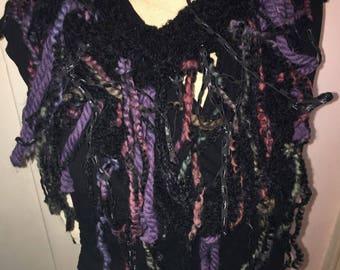 Plum Purple Black Funky Infinity Scarf