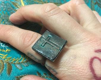 Grainy Teal Dystopian Crucifix Ring