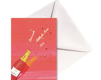 Folded card Petillante year, white envelope.