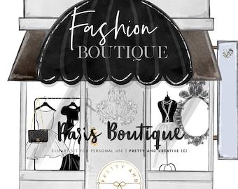 Fashion Boutique, Paris Boutique, Clipart, Background, Outfits, Illustration, Paris Clipart,
