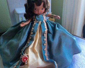 Reduced-Nancy Ann Storybook Doll Bisque, Jointed Legs, Early Mold - Beautiful Gown- 5 inch #183 Thursdays Child