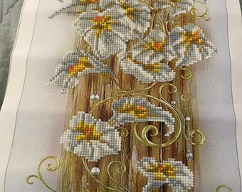 Finished Diamond Painting, Golden Lilies, Partial Mosaic, Round Rhinestones on Canvas