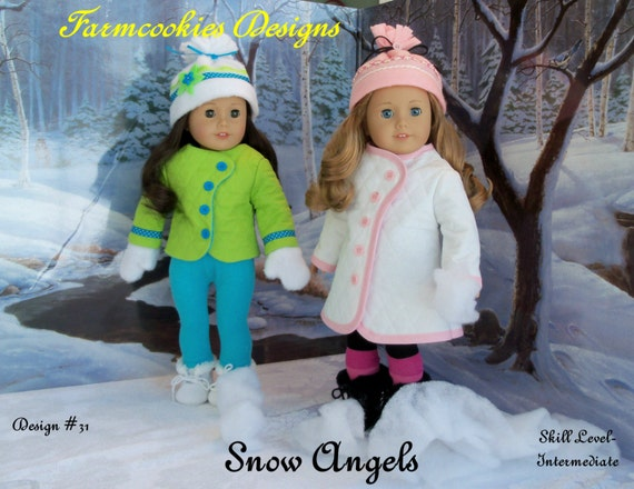"PDF Sewing Pattern / SNOW ANGELS / Winterwear Fits 18""  American Girl Dolls"